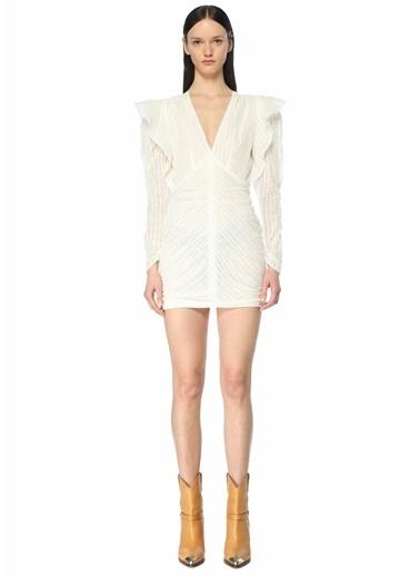 Etoile Isabel Marant Isabel Marant  V Yaka Volanlı Mini Elbise 101623694 Beyaz